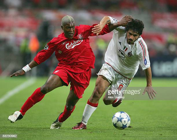 Djibril Cisse of Liverpool battles with Gennaro Gattuso of Milan during the European Champions League final between Liverpool and AC Milan on May 25...