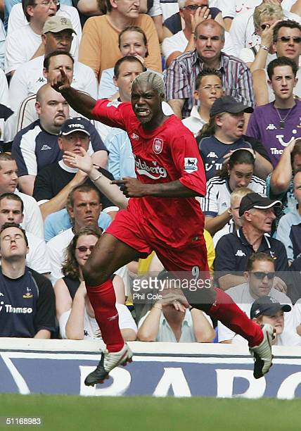 Djibril Cisse of Liverpool celebrates during the Barclays Premiership match between Tottenham Hotspur and Liverpool at White Hart Lane on August 14...