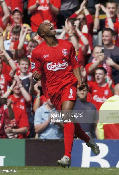 Djibril Cisse of Liverpool celebrates his first goal during the Barclays Premiership match between Liverpool and Aston Villa at Anfield on May 15...