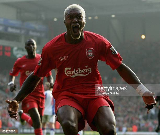 Djibril Cisse of Liverpool celebrates scoring the winning goal during the Barclays Premiership match between Liverpool and Blackburn Rovers on...