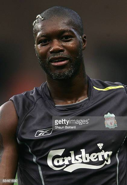 Djibril Cisse of Liverpool looks on during training at the Stade Louis II on August 25, 2005 in Monte Carlo, Monaco.