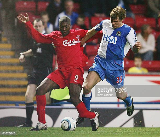 Djibril Cisse of Liverpool was stretchered off after this tackle by James McEveley of Blackburn Rovers during the Barclays Premiership match between...
