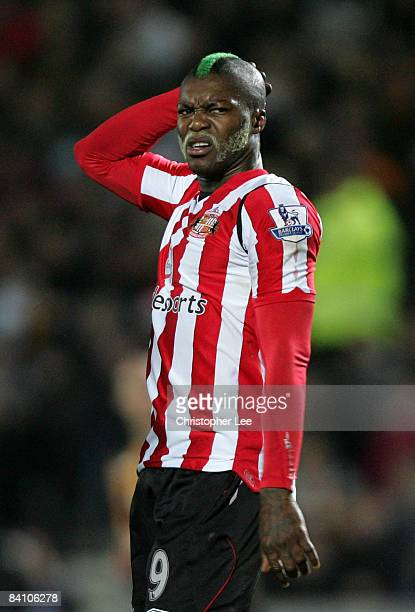 Djibril Cisse of Sunderland looks dejected after his shot goes wide during the Barclays Premier League match between Hull City and Sunderland at The...