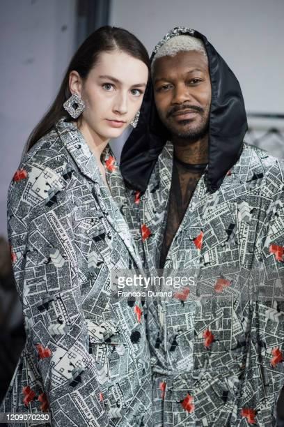 Djibril Cisse poses backstage before the Alianna Liu Womenswear Fall/Winter 2020/2021 show as part of Paris Fashion Week on February 27 2020 in Paris...