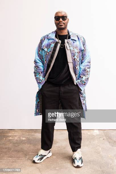 Djibril Cisse poses for a portrait backstage before the Alianna Liu Womenswear Fall/Winter 2020/2021 show at Garage Lubeck as part of Paris Fashion...