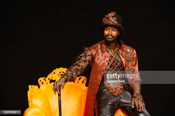 Djibril Cisse walks the runway as he wears a costume made by Angel Sewing and JeanLuc Decluzeau during 'Salon Du Chocolat Paris 2018' at Parc des...