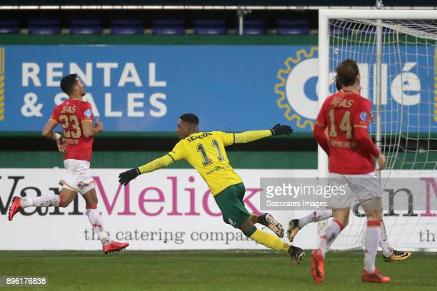 Djibril Dianessy of Fortuna Sittard celebrates 11 during the Dutch KNVB Beker match between Fortuna Sittard v AZ Alkmaar at the Fortuna Sittard...