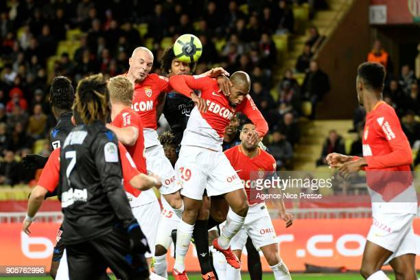 Djibril Sidibe and Andrea Raggi of Monaco and Dante of Nice during the Ligue 1 match between AS Monaco and OGC Nice at Stade Louis II on January 16...