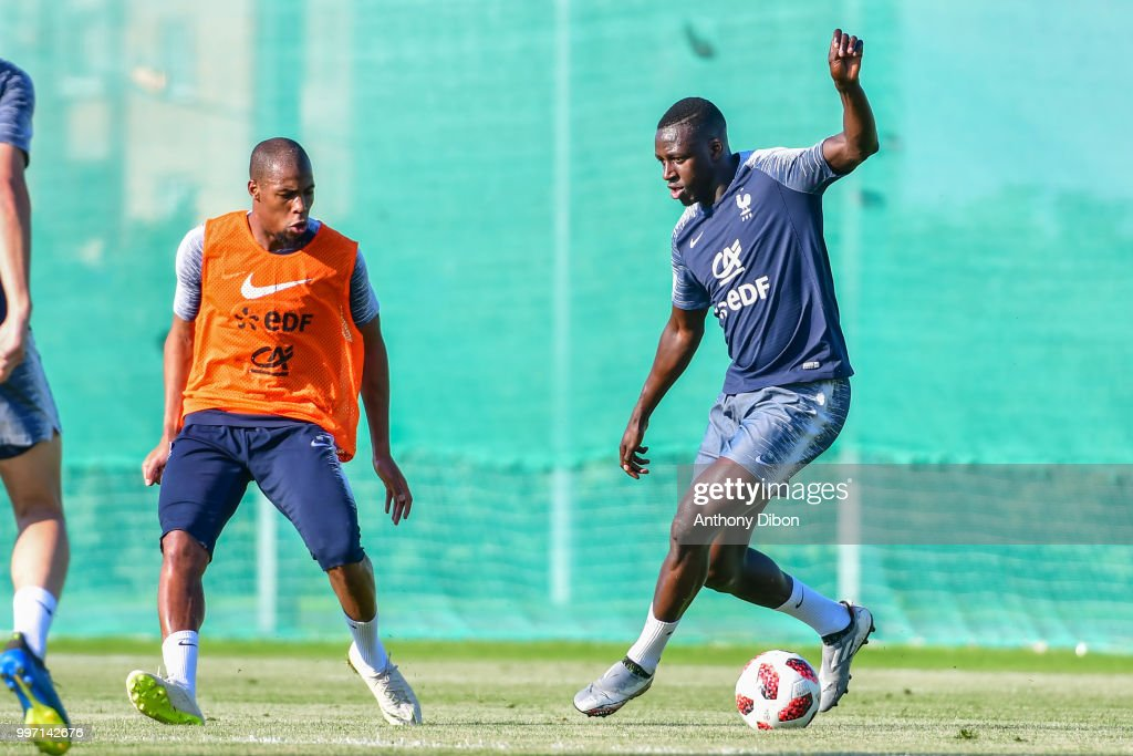 Djibril Sidibe and Benjamin Mendy of France during the training France on July 12, 2018 in Moscow, Russia.