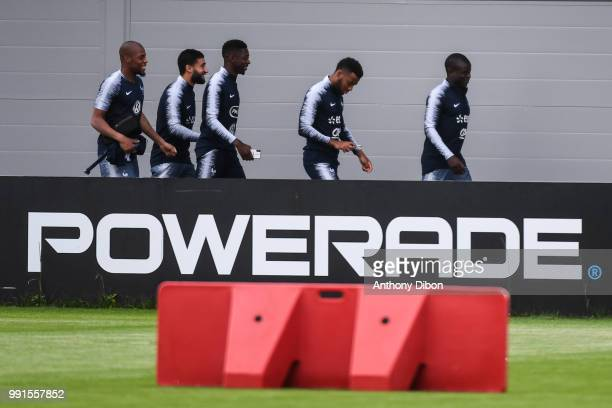 Djibril Sidibe Nabil Fekir Ousmane Dembele Thomas Lemar and Ngolo Kante of France during the France training session on July 4 2018 in Istra Russia