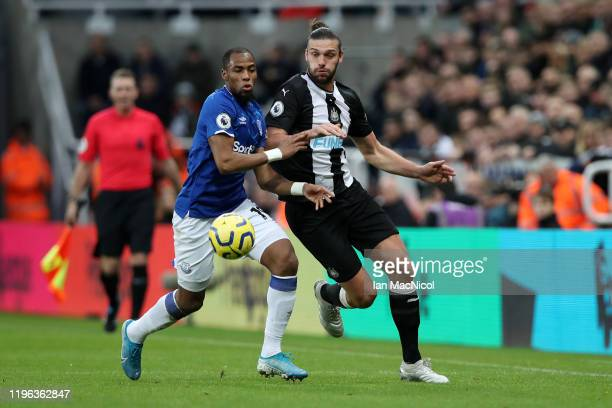 Djibril Sidibe of Everton battles for possession with Andy Carroll of Newcastle United during the Premier League match between Newcastle United and...