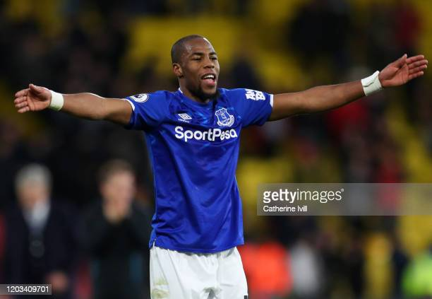 Djibril Sidibe of Everton celebrates after the Premier League match between Watford FC and Everton FC at Vicarage Road on February 01, 2020 in...