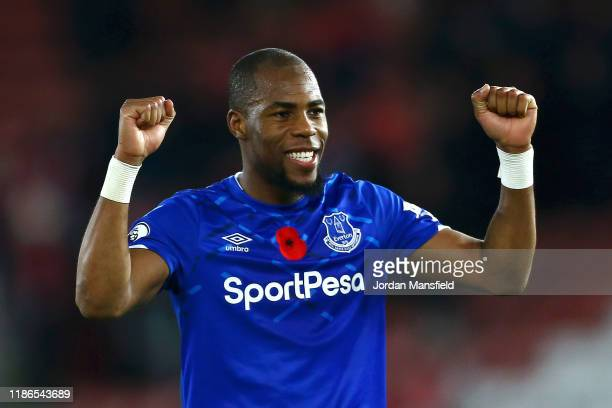 Djibril Sidibe of Everton celebrates following the Premier League match between Southampton FC and Everton FC at St Mary's Stadium on November 09,...