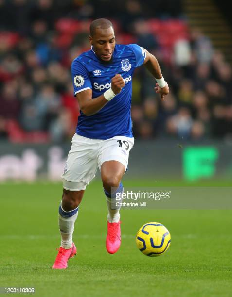 Djibril Sidibe of Everton during the Premier League match between Watford FC and Everton FC at Vicarage Road on February 01, 2020 in Watford, United...