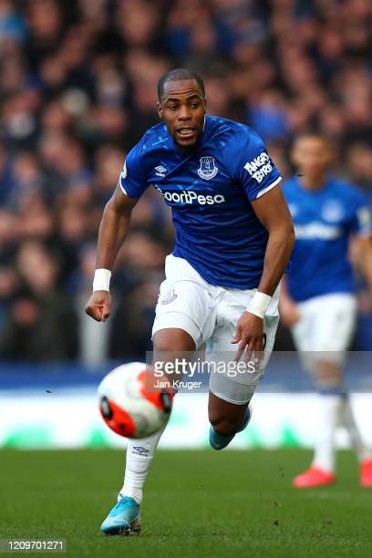 Djibril Sidibe of Everton in action during the Premier League match between Everton FC and Manchester United at Goodison Park on March 01, 2020 in...