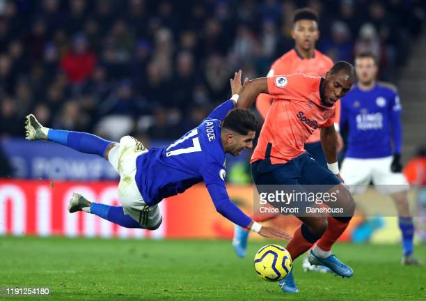 Djibril Sidibe of Everton tackles Ayoze Perez of Leicester City during the Premier League match between Leicester City and Everton FC at The King...