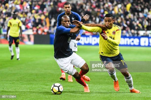 Djibril Sidibe of France and Luis Fernando Muriel of Colombia during the International friendly match between France and Colombia on March 23 2018 in...