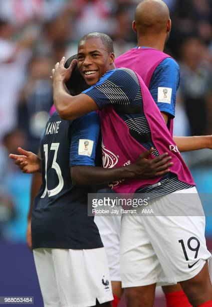 Djibril Sidibe of France celebrates with Ngolo Kante of France at the end of the 2018 FIFA World Cup Russia Round of 16 match between France and...