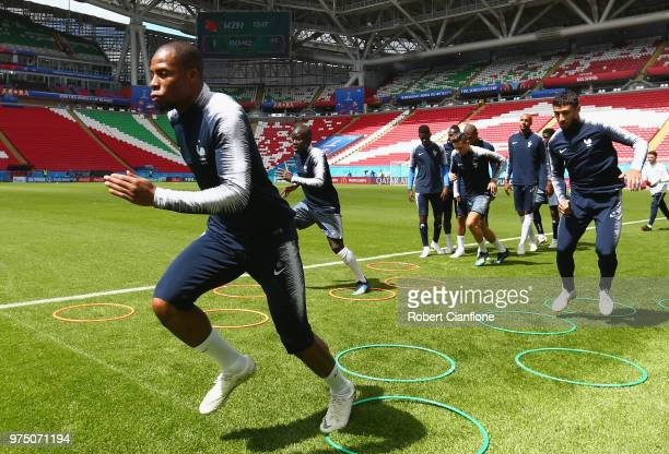 Djibril Sidibe of France warms up during the French team training session at Kazan Arena on June 15 2018 in Kazan Russia