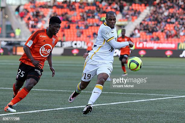 Djibril Sidibe of Lille during the French Ligue 1 match between Fc Lorient and Lille OSC at Stade du Moustoir on April 30, 2016 in Lorient, France.