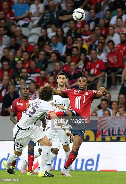 Djibril Sidibe of Lille in action during the French Ligue 1 match between Lille OSC and Paris SaintGermain at Grand Stade Pierre Mauroy on August 7...