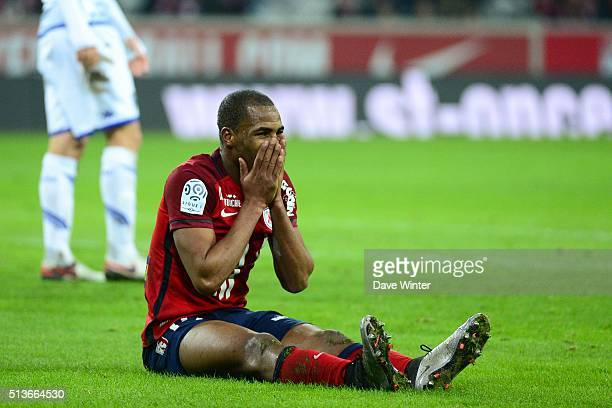 Djibril SIDIBE of Lille OSC looks dejected during the French Ligue 1 between Lille OSC and Troyes at Stade Pierre Mauroy on January 23 2016 in Lille...