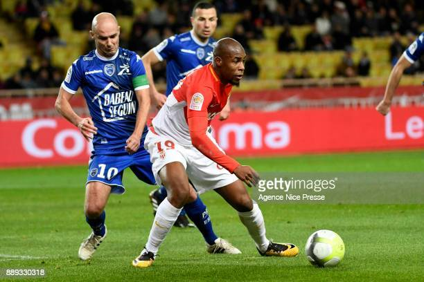 Djibril Sidibe of Monaco and Benjamin Nivet of Troyes during the Ligue 1 match between AS Monaco and Troyes Estac at Stade Louis II on December 9...