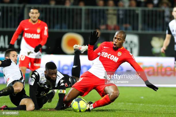 Djibril Sidibe of Monaco and Ismael Traore of Angers during the Ligue 1 match between Angers SCO and AS Monaco at Stade Raymond Kopa on February 10...