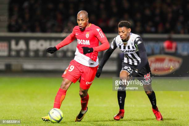 Djibril Sidibe of Monaco and Jeff Reine Adelaide of Angers during the Ligue 1 match between Angers SCO and AS Monaco at Stade Raymond Kopa on...