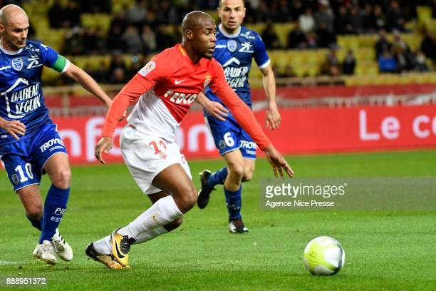 Djibril Sidibe of Monaco during the Ligue 1 match between AS Monaco and Troyes Estac at Stade Louis II on December 9 2017 in Monaco