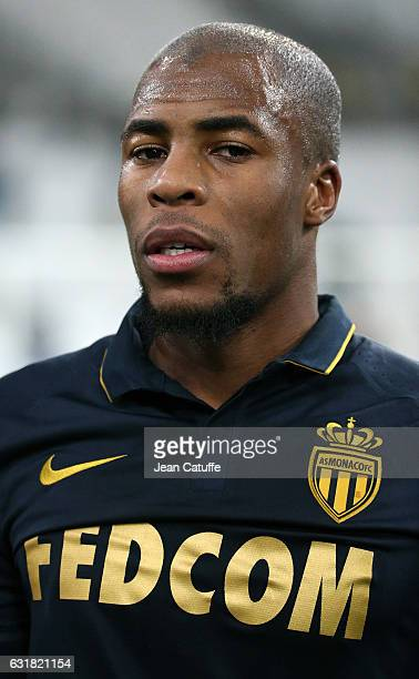 Djibril Sidibe of Monaco looks on following the French Ligue 1 match between Olympique de Marseille and AS Monaco at Stade Velodrome on January 15...
