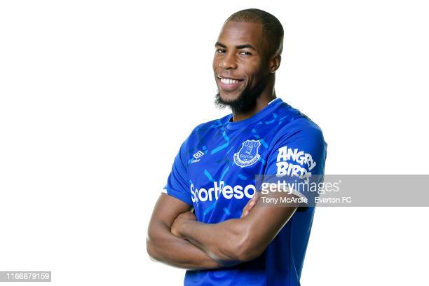 Djibril Sidibe poses for a photo after signing for Everton at USM Finch Farm on August 7, 2019 in Halewood, England.