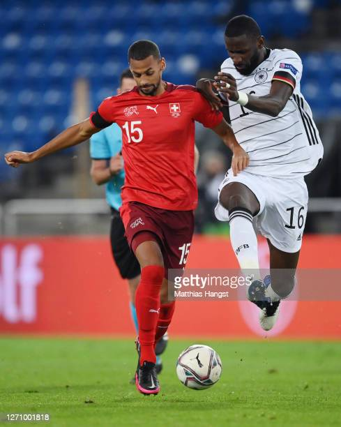 Djibril Sow is challenged by Antonio Ruediger of Germany during the UEFA Nations League group stage match between Switzerland and Germany at St....