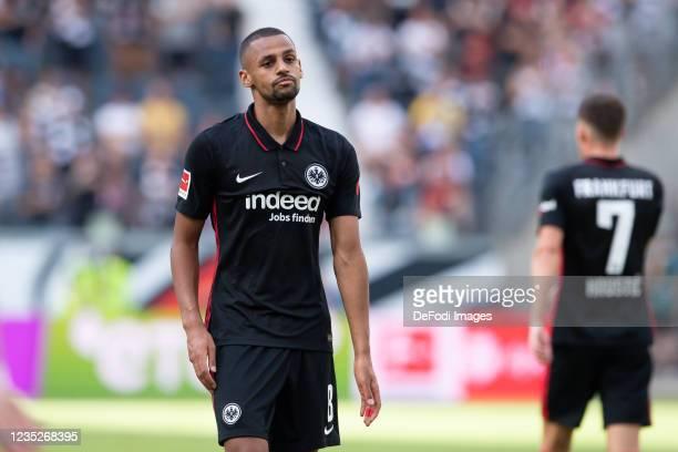 Djibril Sow of Eintracht Frankfurt looks on during the Bundesliga match between Eintracht Frankfurt and VfB Stuttgart at Deutsche Bank Park on...