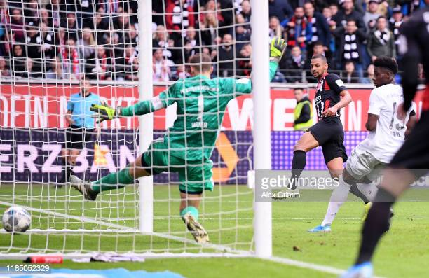 Djibril Sow of Eintracht Frankfurt scores his team's second goal during the Bundesliga match between Eintracht Frankfurt and FC Bayern Muenchen at...