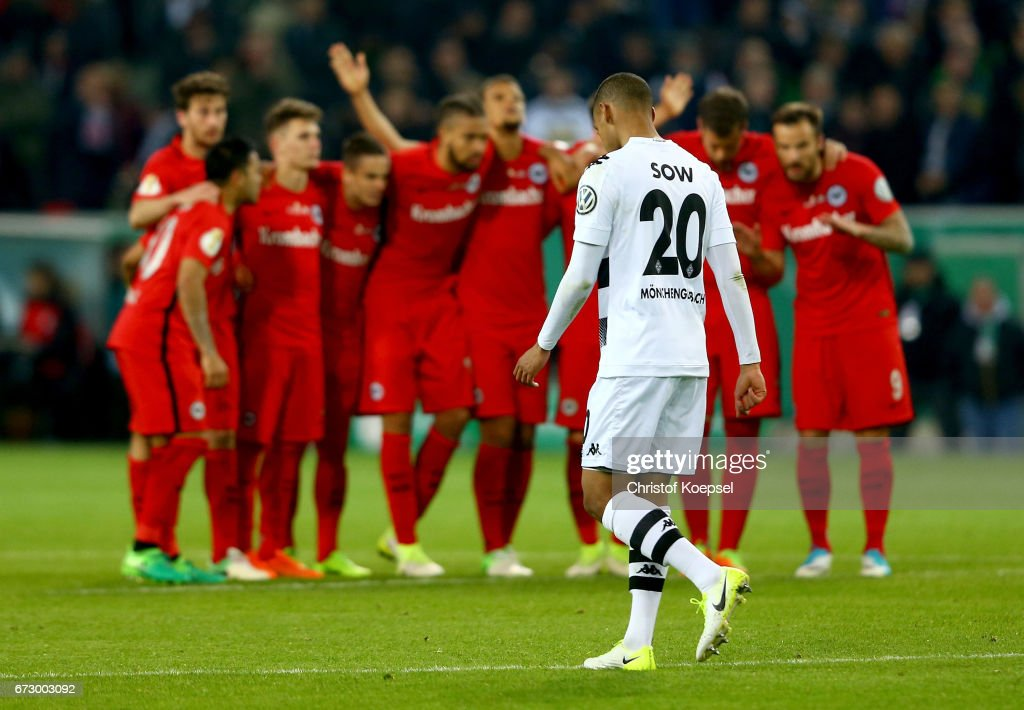 Djibril Sow of Moenchengladbach looks dejected during penalty shoot out during the DFB Cup semi final match between Borussia Moenchengladbach and Eintracht Frankfurt at Borussia-Park on April 25, 2017 in Moenchengladbach, Germany.