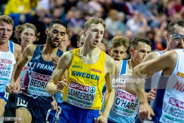 Djilali FRA and LEANDERSON Jonas SWE competing in the 3000m Men Final event during day TWO of the European Athletics Indoor Championships 2019 at...