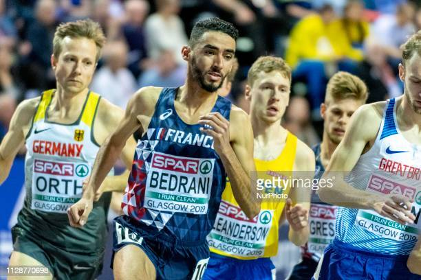 Djilali FRA competing in the 3000m Men Final event during day TWO of the European Athletics Indoor Championships 2019 at Emirates Arena in Glasgow...