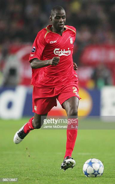 Djimi Traore of Liverpool in action during the UEFA Champions League group G match between RSC Anderlecht and Liverpool at the Constant Vanden Stock...