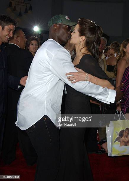 Djimon Hounsou and Angelina Jolie during 'Lara Croft Tomb Raider The Cradle of Life' World Premiere at Grauman's Chinese Theatre in Hollywood...