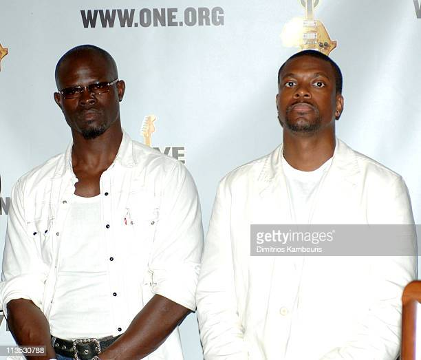Djimon Hounsou and Chris Tucker during LIVE 8 Philadelphia The Declaration of Independence Joins The One Campaign at City Hall in Philadelphia...
