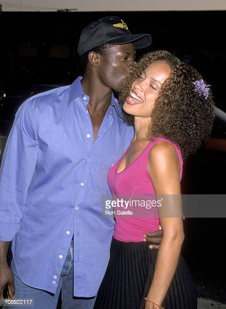 Djimon Hounsou and girlfriend during 'Rounders' Los Angeles Premiere at Loews Cineplex in Los Angeles California United States