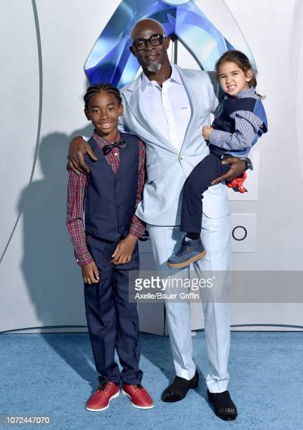 Djimon Hounsou and Kenzo Lee Hounsou attend the premiere of Warner Bros Pictures' 'Aquaman' at TCL Chinese Theatre on December 12 2018 in Hollywood...