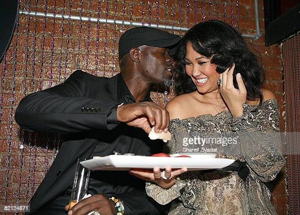 Djimon Hounsou and Kimora Lee Simmons attend the Baby Phat by Kimora Lee Simmons fashion show after party during MercedesBenz Fashion Week Fall 2008...