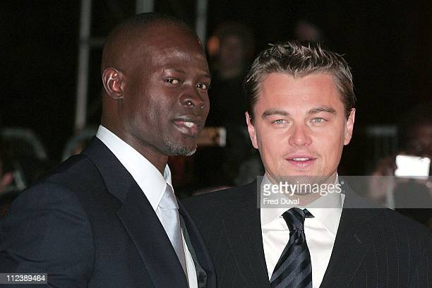 """Djimon Hounsou and Leonardo DiCaprio during """"Blood Diamond"""" London Premiere - Arrivals at Odeon Leicester Square in London, Great Britain."""