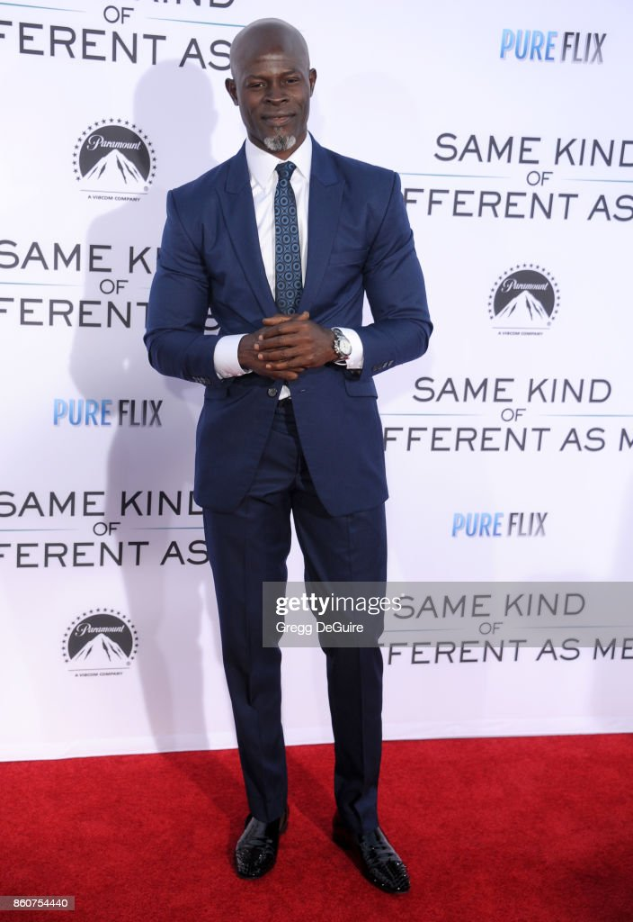 Djimon Hounsou arrives at the premiere of Paramount Pictures and Pure Flix Entertainment's 'Same Kind Of Different As Me' at Westwood Village Theatre on October 12, 2017 in Westwood, California.