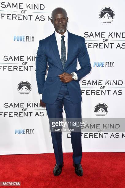 """Djimon Hounsou attends the Premiere Of Paramount Pictures And Pure Flix Entertainment's """"Same Kind Of Different As Me"""" at Westwood Village Theatre on..."""