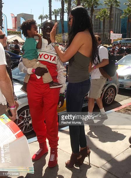 Djimon Hounsou Kimora Lee Simmons and son Kenzo Lee Hounsou attend the 35th Annual Toyota Pro/Celebrity Race at the Long Beach Grand Prix on April 16...