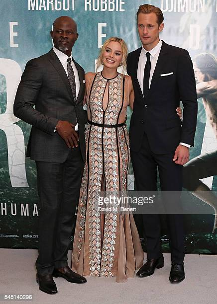 Djimon Hounsou Margot Robbie and Alexander Skarsgard attend the European Premiere of 'The Legend Of Tarzan' at Odeon Leicester Square on July 5 2016...