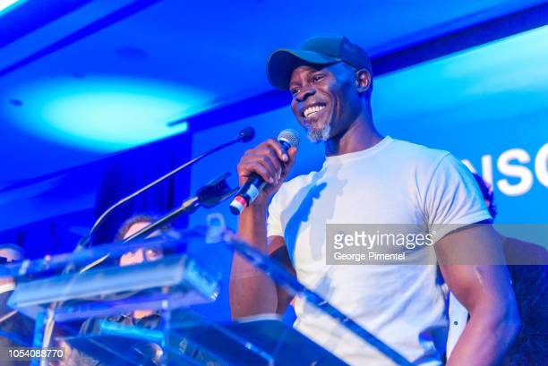 Djimon Hounsou speaks on stage during the Rally For Kids Scavenger Cup In Toronto 'The Qualifiers' Celebrity Draft Party at the Hotel X's High Park...